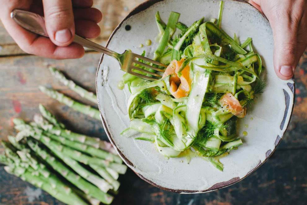 Asparagus salad served on a plate