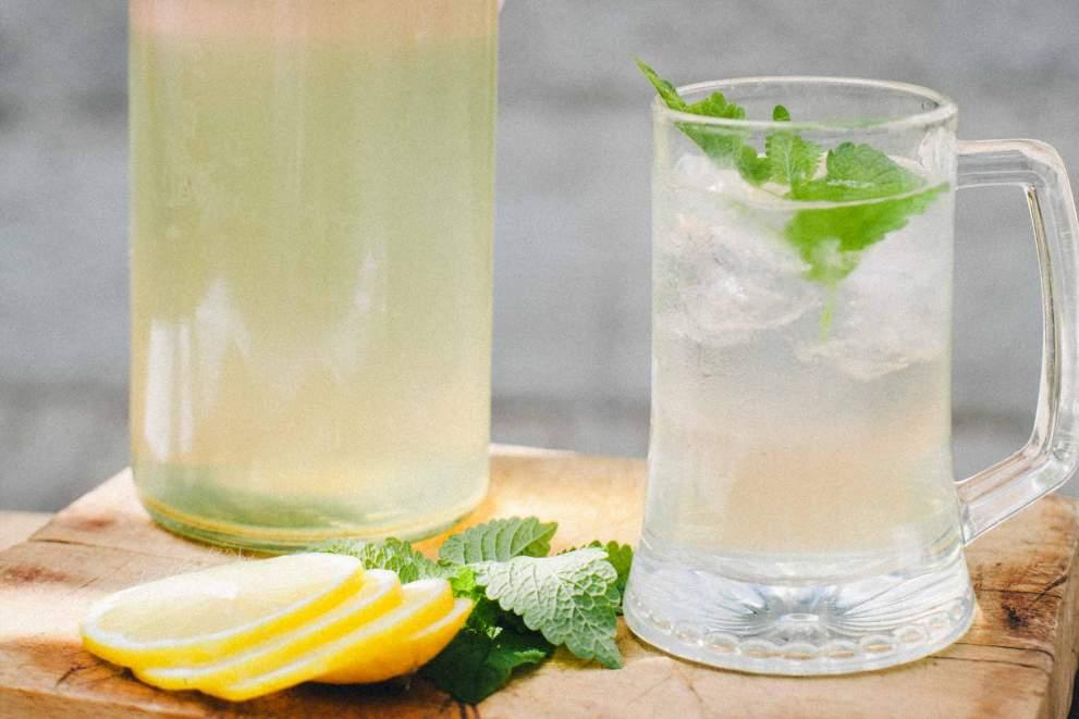 Elderflower cordial in a glass with lemon