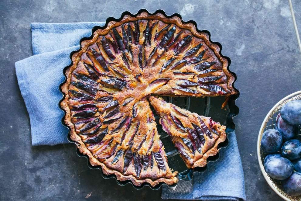 Plum walnut and honey tart