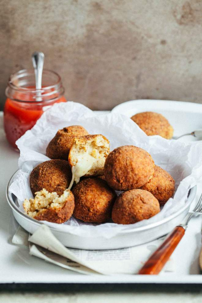 Arancini rice balls with cheese