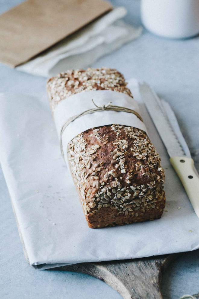 Spelt and sunflower bread wrapped as a gift