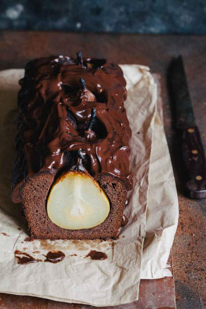 Double chocolate cake with pears