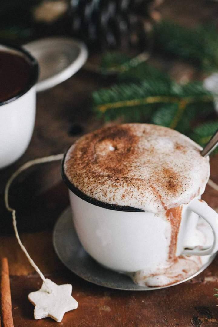 Hot chocolate with caramelized hazelnuts