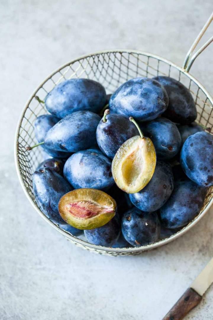 Fresh plums for Plum walnut and honey tart