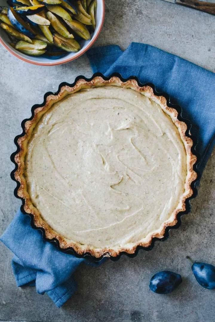 Filling spread over prebaked tart crust
