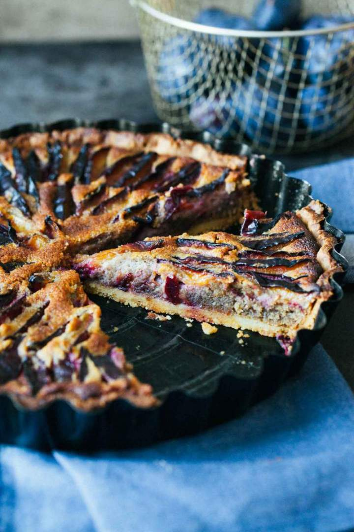 Plum walnut and honey tart baked and ready to serve