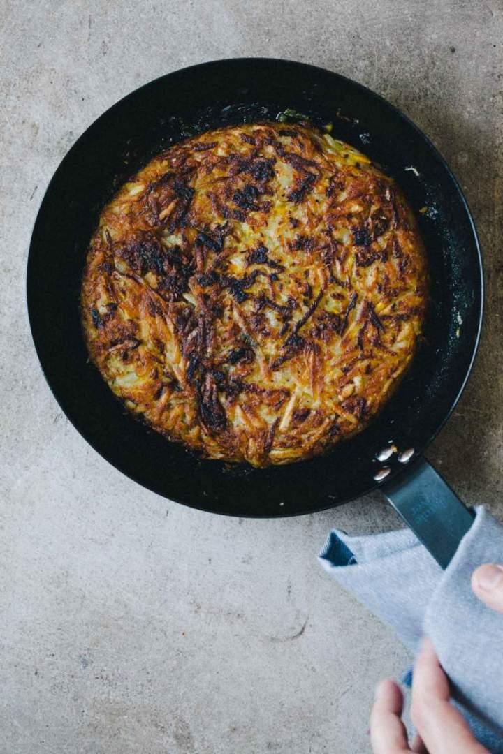 Rösti (krompirjev kolač z bučkami)