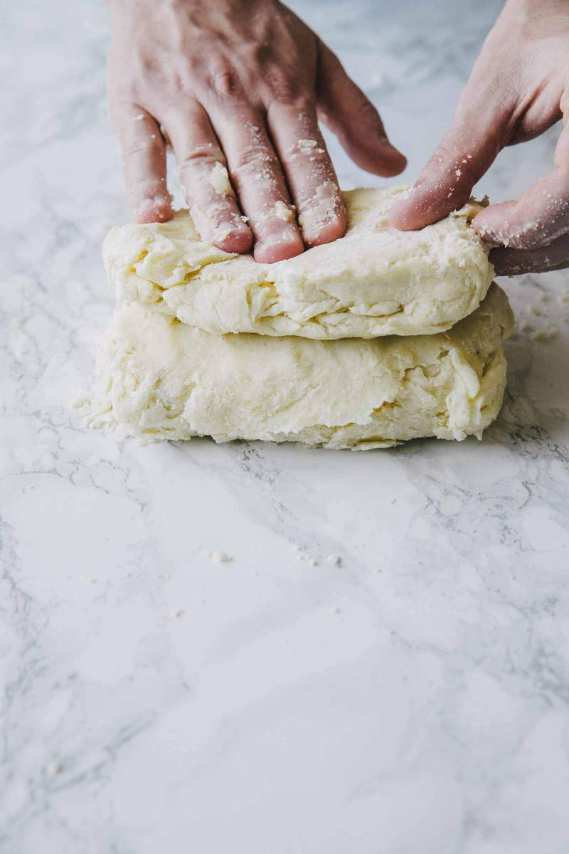 dough for Scones with strawberries and cream